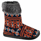 Chicago Bears NFL Woman's Faux Fur Aztec Slipper Boots Shoes Embroidered Logo