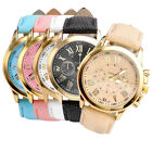Fashion Womens Roman Numeral PU Leather Gold Tone Analog Quartz Wrist Watch Gift