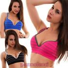 Top woman bra fitness gym striped sport push up cups intimo new 808