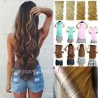 Real Thick Clip In Hair Extensions Long Curly 3/4 Full Head Hair Extentions f9k1