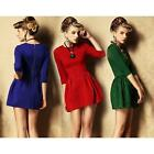Lady Sexy Mini Dress Bodycon 3/4 Sleeve Elastic Slim Empire Waist Bodycon Dress