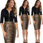 Women Elegant Work Dress Mini Bodycon  Pencil Leopard Evening Party Dress