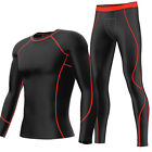 Mens Under Compression Shirt Long Pant Cycling Base Layers Armour Skins Tights