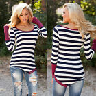 Sexy Fashion Women Casual Long Sleeve Crewneck Stripe Loose Blouse Tops T Shirt