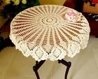 White Beige 36'' Round Handmade Crochet Lace TableCloth Doily Doilies N02