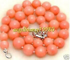 Beautiful Party Jewelry 8MM Natural Pink Coral Beads Necklace coral 18inch