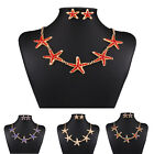 Women Rhinestone Crystal Stars Chain Statement Bib Pendant Necklace Earring Set