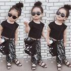 Fashion Baby Girls Summer Outfit T-shirt Tops+ Hiphop Pants Clothes Set UK
