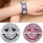 Alloy Charms Smile Face Heart Rhinestone Snap Button Fit Punk Bracelet DIY
