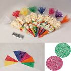 New Clear/Colored Cone Bags Cellophane Biscuit Candy Popcorn Snack Party Display