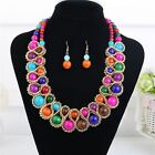 Fashion Bohemia Round Crystal Beaded Gold Choker Necklace Earrings Jewelry Set