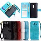 Luxury Folio Crocodile PU Leather Wallet Card Stand Case Cover For Cellphone