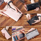 New Fashion Womens Slim PU Leather Long Wallet Card Holder Handbag Purse 3 Color