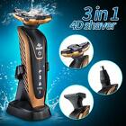 3in1 Men's Waterproof 4D Electric Beard Shaver Razor Rotary Cordless NoseTrimmer