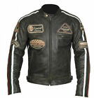Men's Leather Motorcycle Jacket Cafe Racer - Black with inserts and Patch