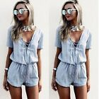 2016 New Women Blue Short Sleeve Short Jumpsuits Casual Sexy Deep V-neck Rompers