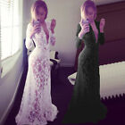 Elegant Lady V-Neck Sheer White Lace Maxi Evening Cocktail Gown Prom Party Dress