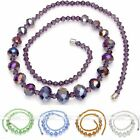 Fashion Womens Girls Faceted Crystal Glass Graduated Bead Necklace Jewelry Gift