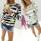 New Women Jumpers Shirt Striped Floral Tops T shirt Blouse Long Sleeve Pullover