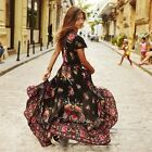 Sexy Vintage Women Boho Floral Short Sleeve Beach Sundress Lady Maxi Party Dress