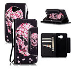 Flower Skull Pattern Wallet PU Leather Case Cover W/Strap For Smart Cell Phones