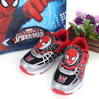 Marvel Spider Man Silver Net  Light Up Mid Top Black Shoes