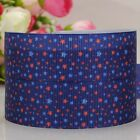 "1""25mm navy bling star printed grosgrain ribbon 4th July USA Independent day"