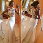 Sexy Lace Mermaid White Wedding Bridesmaid Long Formal Evening Party Ball Dress