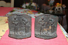 Antique Gleaners Cast Iron Bookends-Pair-Farmers W/Baby Saying Prayer-LQQK