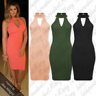 Womens Ladies Key Hole Chocker Neck Sleeveless Bodycon Midi Party Dress 8-14