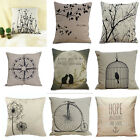 Anchor Bird Love Quote Cotton Linen Pillow Cover Throw Pillow Car Cushion Cover