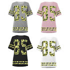 Womens Ladies 85 Printed Camouflage Stripe Baseball Oversized Baggy Top