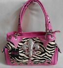 CARRY to CONCEAL GUN POCKET ZEBRA STRIPE FLEUR DE LIS Organizing Shoulder Purse