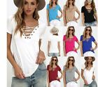 Summer Womens V Neck Lace UP Tee Shirt Short Sleeve Loose Tops Blouse plus size
