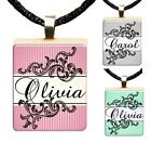 Custom Your Name Stripes Scrabble Tile Pendant Charm Gift Personalized Jewelry