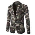 Fad Men Casual One Button Handsome Camouflage Military Blazer Suit Coat Jacket
