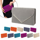 WOMENS NEW EVENING ENVELOPE FAUX SUEDE CLUTCH PURSE PARTY BAG