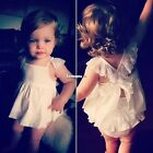 Summer Solid Lace Baby Girl Waist Flower Princess Sleeveless Party Dress New ES9