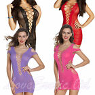 Womens Erotic Bedroom Dress Crotchet Chemise See Trough Black Red Pink Purple