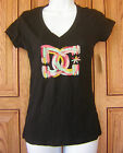 DC Shoes Red Yellow Gray Green Feather Logo V Neck Black T Shirt Top NWT Box29