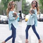 New Fashion Women Bowknot Off Shoulder Long Sleeve Slim T-Shirt Top Blouse UK