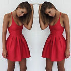 New Fashion Women Hot Red Strappy Slim Tunic Mini Dresses Casual Party Clubwear