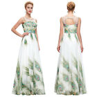 GK Long Sexy Ball Gown Evening Prom Party Dress Peacock Print Pageant Elegant