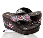 Montana West® Embroidered Paisley Platform Flip Flops, Sizes 6-11 - Coffee Pink