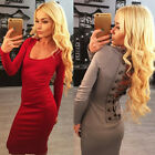 Women Bandage Hollow Out Lace Up Bodycon Night Clubwear Party Dress LA