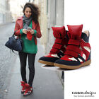 sn5 Celebrity Fashion Lookbook Suede Leather High-top Wedge Sneakers