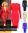 New Womens Ladies Plunge V Neck Long Sleeve Bodycon Midi Dress 8-14