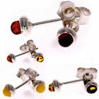 SilverAmber CLASSIC STUD 5MM EARRINGS COGNAC GREEN LEMON YELLOW 3MM STONE