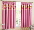Princess Childrens Kids Girls Plain Tape Top Thermal Blackout Curtains, Pink