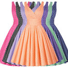 1950s Vintage Retro ROCK N ROLL Pin Up Dress Sleeveless Swing Polka Dot EVENING